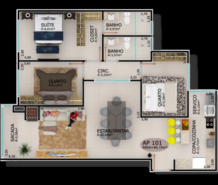 Apartamentos Tipo 01 e 05