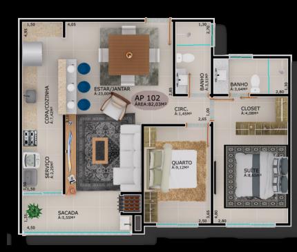 Apartamentos Tipo 02 e 04